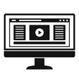 monitor play video icon simple style vector image vector image