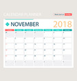 november 2018 calendar or vector image vector image