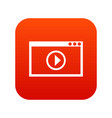 program for video playback icon digital red vector image vector image
