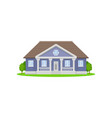 purple country house with wooden roof family home vector image vector image