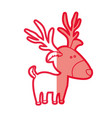 red silhouette of caricature reindeer stand vector image vector image