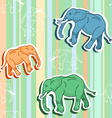 Seamless elephant pattern on green stripped vector image