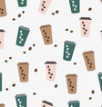 seamless pattern cute coffee Cup vector image