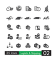 Set of 25 logistic shipping transport icons 002 vector image