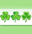 set of three stylized 3d patrick clover vector image