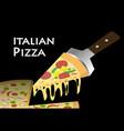 slice pizza on black background vector image