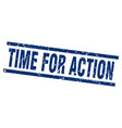 square grunge blue time for action stamp vector image vector image