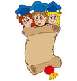 three graduating kids with scroll vector image vector image