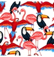 Tropical birds seamless pattern with parrots vector image vector image