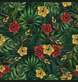 tropical floral colorful seamless pattern vector image vector image