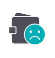 wallet with sad face colored icon dislike vector image