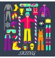 Winter Equipment for Skiing Icons Set vector image vector image
