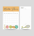 monthly planner and page for notes template vector image