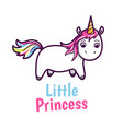 cute baby unicorn with rainbow color hairs vector image