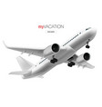 3d white glossy commercial jet airplane in sky vector image vector image