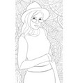 adult coloring bookpage a cute girl wearing a hat vector image vector image