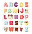 alphabet fro sweet pastries set colorful canddy vector image vector image