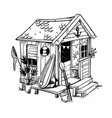 beach hut cosy holiday home at beach vector image vector image