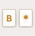 boho sun posters with kid name scandinavian vector image vector image