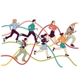 Business people group run on graph line vector image vector image