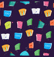 cartoon book emoji characters seamless pattern vector image vector image