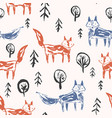 childish pattern with orange foxes in forest vector image vector image