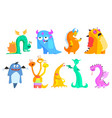 colorful flat set funny monsters vector image vector image