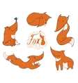 Colorful set of hand drawn cute ginger foxes in vector image vector image