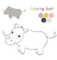 Coloring book rhino kids layout for game vector image vector image