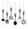 contour kitchen utensils icon image vector image