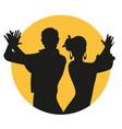 couple spanish flamenco dancers silhouettes vector image