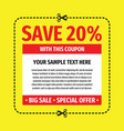 coupon save discount off 20 percent - concept temp vector image