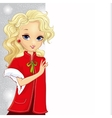 Cute Blonde Santa Gir Holding Banner vector image vector image