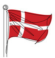 denmark flag one continuous line abstract icon vector image vector image