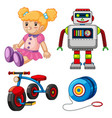 doll and other toys on white background vector image vector image
