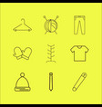 dress and clothes linear icon set simple outline vector image