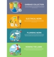 Electrical Plumbing Work and Mowing Lawn vector image