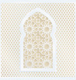 golden and white arabic ornamental mosque window vector image vector image