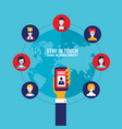 hand holding mobile phone with icons social vector image vector image