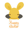 happy easter cute kawaii bunny rabbit in hole vector image vector image