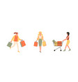 Happy women characters with shopping woman with