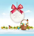 Holiday Easter background with eggs in a basket vector image vector image