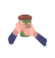 hot beverage poured in paper cup takeaway coffee vector image vector image