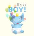 its a boy baby elephant greeting card cartoon vector image vector image