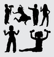 kid gesture silhouette vector image vector image
