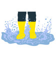 legs in rubber boots playing in puddle vector image
