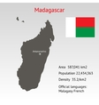 Maps of Madagascar with flag vector image vector image
