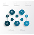 meditation icons line style set with drop peace vector image