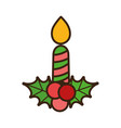 merry christmas candle holly berry celebration vector image vector image