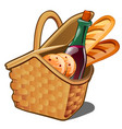 picnic wicker basket with food product oatmeal vector image vector image